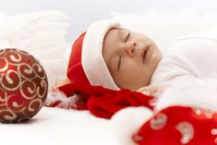 Portrait of sleeping little santa claus Royalty Free Stock Image