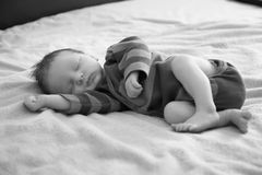 Portrait of sleeping newborn Stock Photos