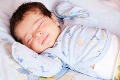 Portrait of sleeping newborn baby Stock Photo