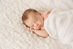 Portrait of a Sleeping Newborn Baby. Head and shoulders shot of a sleeping two week old newborn baby wrapped in white gauzy fabric and sleeping on a white Stock Image