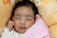 Portrait of a Sleeping Newborn Baby Girl Royalty Free Stock Image