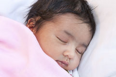 Portrait of a Sleeping Newborn Baby Girl Stock Image