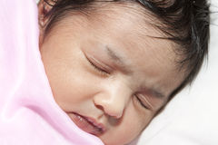 Portrait of a Sleeping Newborn Baby Girl Stock Photography