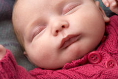 Portrait Of Sleeping Newborn Baby Girl Stock Images