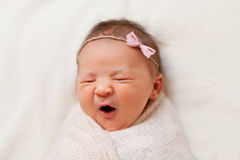 Portrait of  sleeping newborn baby girl Stock Photos