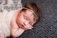 Portrait of  sleeping newborn baby girl Stock Photo