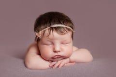 Portrait of  sleeping newborn baby girl Royalty Free Stock Photography