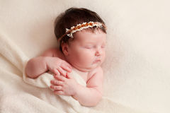 Portrait of  sleeping newborn baby girl Stock Photography