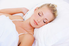 Portrait of sleeping pretty beautiful woman Royalty Free Stock Photo
