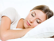 Portrait of sleeping woman Stock Photo