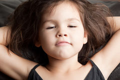 Portrait of sleepy asian little child. The portrait of sleepy asian little child stock images