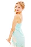 Portrait of slim blond girl in sundress Stock Images
