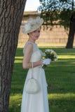 Bride under a tree royalty free stock photos