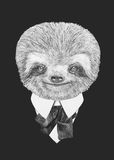 Portrait of Sloth in suit. Royalty Free Stock Photography