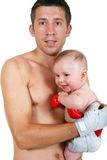 Portrait of the small and adult boxer Stock Images