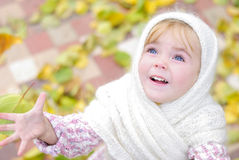 Portrait of the small beautiful girl in. A white scarf in the autumn Stock Photos