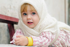 Portrait of the small beautiful girl Stock Photos