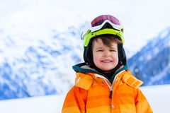 Portrait of small boy in ski mask and helmet Stock Image
