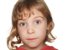 Portrait small child in a red t-shirt, amaze Royalty Free Stock Photos