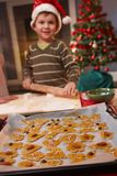 Portrait of small kid doing christmas baking Stock Photo