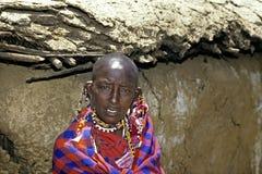 Portrait of small Maasai woman, Kenya Stock Photo