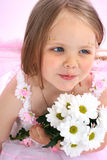 Portrait of the small princess in a pink dress Royalty Free Stock Image