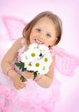 Portrait of the small princess in a pink dress Royalty Free Stock Photography