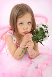 Portrait of the small princess in a pink dress Stock Photo