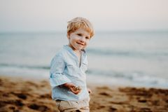 A portrait of small toddler boy standing on beach on summer holiday. royalty free stock image