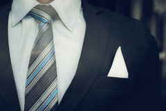 Portrait of smart business man close up wearing formal suit and. Tie Stock Image