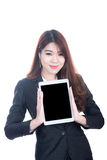 Portrait of smart business woman holding tablet computer Royalty Free Stock Image