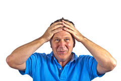 Portrait of smart elderly gesturing man Royalty Free Stock Image