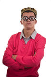 Portrait of a smart geek with funny glasses Stock Photography