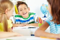 Joyful schoolboy Royalty Free Stock Image
