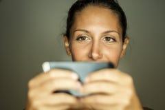 Portrait with smartphone Stock Photo