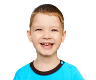 Close Up portrait smeiling boy, isolated in white background Stock Photography