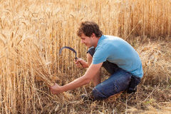 Portrait of smile farmer with sickle stock image