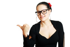 Smile woman pointing Stock Photo