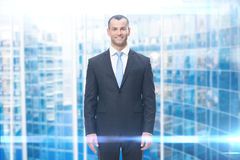 Portrait of smiley businessman stock images