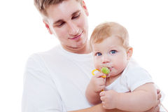 Portrait of smiley father and son stock photo
