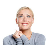 Portrait of smiley woman praying Royalty Free Stock Images