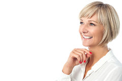 Portrait of smiling aged woman Stock Photos