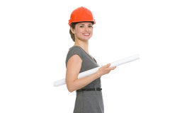 Portrait of smiling architect woman with flipchart Stock Photo