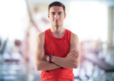 Portrait of a smiling athlete male trainer coach Stock Image