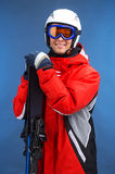 Portrait of smiling attractive male skier. Stock Image