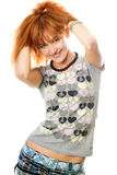 Portrait of smiling attractive red-haired girl royalty free stock photo