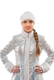 Portrait of a smiling attractive Snow Maiden Stock Photography