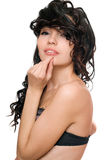Portrait of smiling attractive young brunette. Isolated Stock Photo