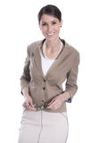 Portrait of a smiling attractive young business woman isolated o. N white background Stock Photo