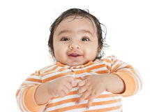 Portrait of a Smiling Baby, isolated on White. Portrait of a Smiling Baby Girl on a White Background royalty free stock photos